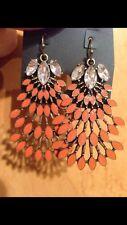 Stella Designer Style Norah Chandelier Burnt Sienna Leaf Dot Earrings US Sellr