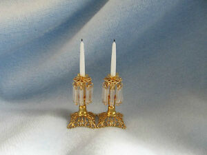 dollhouse doll house miniature BRASS CANDLE HOLDER CANDLE SET
