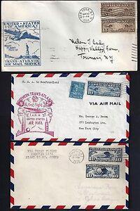 Brillant Us 1930 9 Trois Premier Vol Transatlantique Aérien Courrier Couvertures