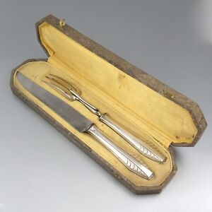 1930s Art Deco Carving Set Fork and Knife Superb French Carving Set In Original Presentation Box