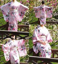 Japanese kimono Yukata Geisha best dress women gown Haori Floral with Obi Pink