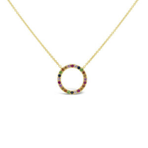 29CT-14K-Yellow-Gold-Multi-Color-Sapphire-Gemstone-Open-Circle-Pendant-Necklace