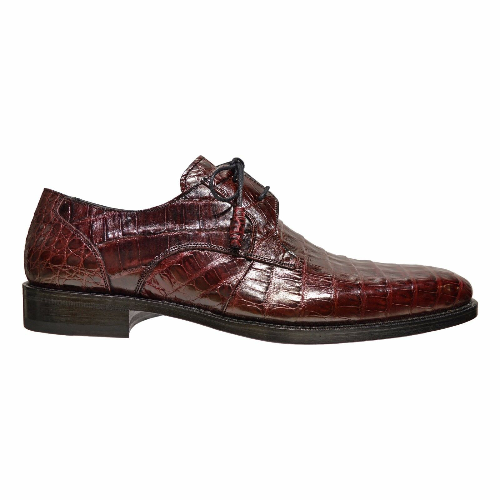 Mezlan Anderson Men's Genuine Crocodile Skin Oxford Lace Up shoes Burgundy