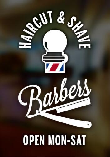 BARBERS POLE SHOP HAIRDRESSERS WINDOW SIGN BARBERS ADHESIVE VINYL WINDOW SIGN