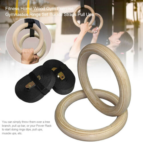 Exercise Fitness Gymnastics Rings Set Wood Muscle Buckle Straps Indoor Pull Ups