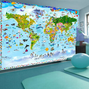 Details zu Vlies Fototapete Kinderzimmer Weltkarte Tiere Tapete xxl für  Kinder e-A-0102-a-a