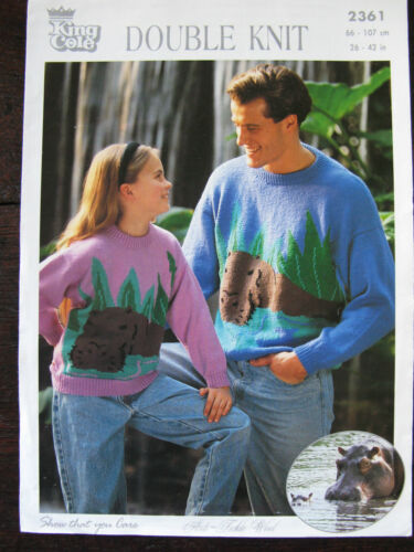 "King Cole Knitting Pattern Mens Ladies Boys Girls Hippo Sweater 26-42/"" 2361"