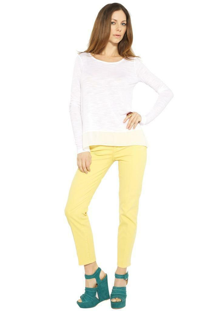 7 For All Mankind Slim Straight leg PFD Yellow Mustard Jean AU8083374P low rise