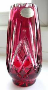 VINTAGE-HEAVY-BOHEMIAN-LEAD-CRYSTAL-CRANBERRY-RUBY-GLASS-VASE-ORIGINAL-LABEL