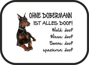 """Haustierbedarf Auto-sonnenschutz """"ohne Dobermann Ist Alles Doof!"""" 2er Set Schwarz Sa0038"""