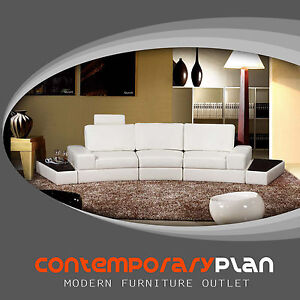 Details about Contemporary Curved White Italian Leather Sectional Sofa  Adjustable Headrest