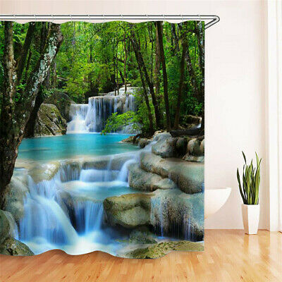 3D Waterfall Bathroom Shower Curtain Window Curtain BathMat With Hooks UK ILC