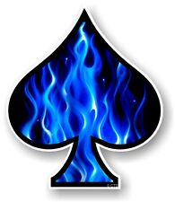 ACE OF SPADES With Elictric Blue Flames Fire vinyl Car Helmet Bike sticker decal