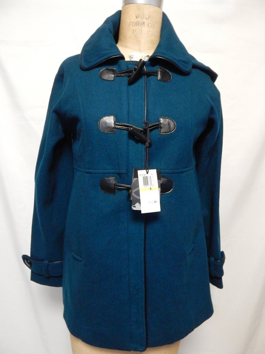 Steve Madden Toggle Front Hooded Coat S Teal  NWT