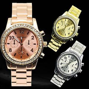 Geneva-Bling-Crystal-Women-Girl-Unisex-Stainless-Steel-Quartz-Wrist-Watch-BHBU
