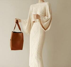 2-Pic-Women-039-s-Knitting-Warm-Batwing-Long-Hip-Package-Set-Top-Dress-Sweater-Suit