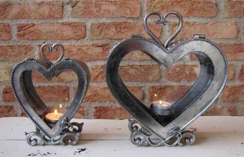 ca Premium Tischlaterne La Vida antik silber Herz 20 cm groß