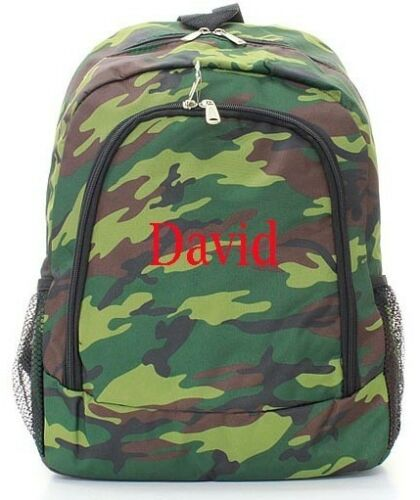 Personalized Army Camoflauge LARGE School Bag Backpack Monogram Embroidery