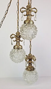 Vintage-Swag-Hanging-Lamp-Crystal-Drops-Hollywood-Regency-Rococo-Style-Gold