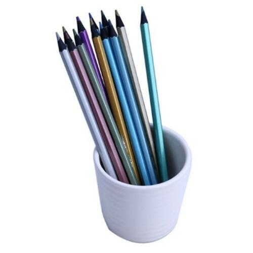 Drawing Sketching Pencils 12x Metallic Non Toxic Colored Wooden 12 Color DB