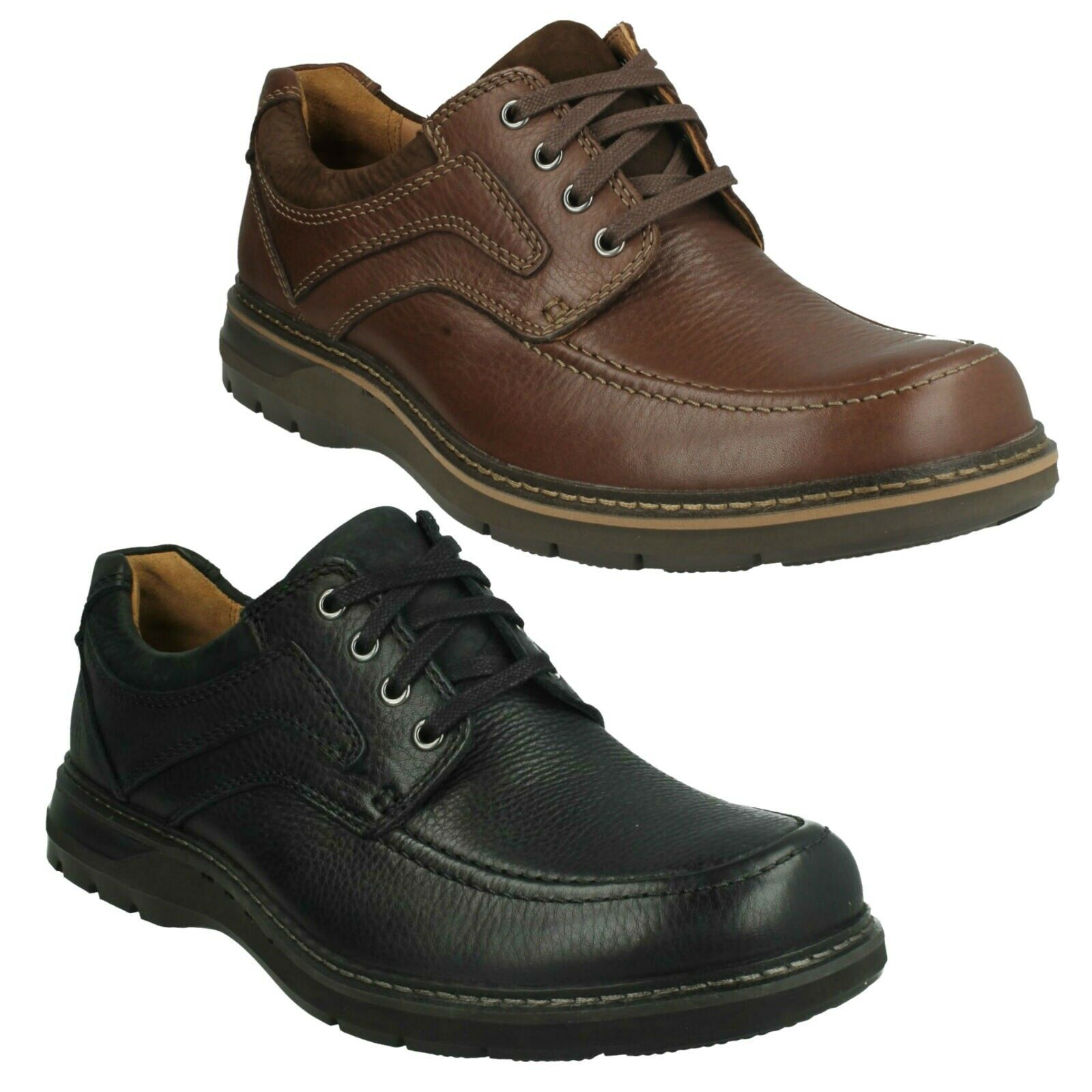 MENS CLARKS UNSTRUCTURED UN RAMBLE WIDE LACE UP SMART CASUAL LEATHER SHOES SIZE