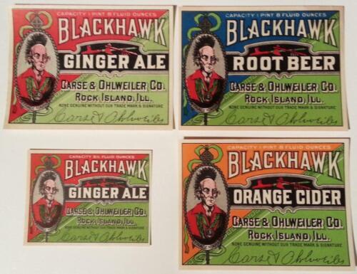 Rock Island 4 Different Original Blackhawk Soda Labels Carse /& Ohlweiler Co Il