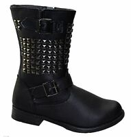 GIRLS BLACK BACK TO SCHOOL SHOES KIDS WINTER FORMAL CASUAL PARTY BOOTS SIZE 10-2