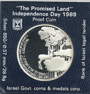 1989-Israel-Independence-Day-the-Promised-Land-Proof-Coin-28-8g-Silver-Orig-Case
