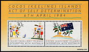 1984-Integration-Cocos-Keeling-Islands-Minisheet-Mint-Stamps-Australia