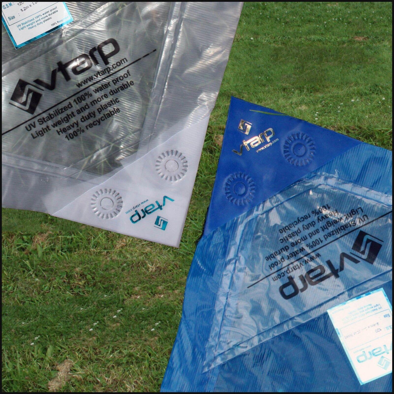 Vtarp ® HEAVY DUTY TARPAULIN WATERPROOF EX STRONG COVER GROUND SHEET TARP 120GSM