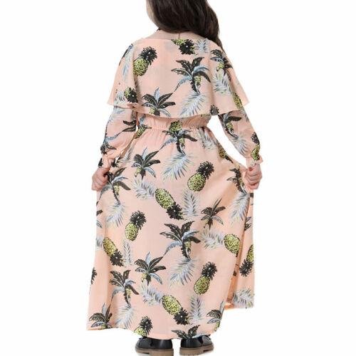 Girls Kids Muslim Abaya Islamic Arab Kaftan Robe Party Dress Fashion Maxi Dress