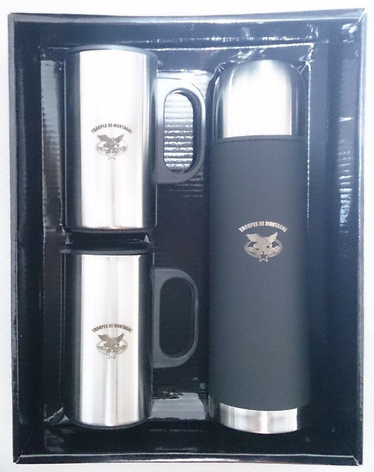 Boxed set of 3 thermos (1 bottle & 2 cups)  mountain troops  enjoy 50% off