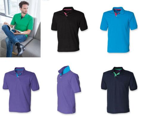 Gents Cotton Mix Contrast Polo Shirt Mens Henbury Tshirt Navy Black Blue H420