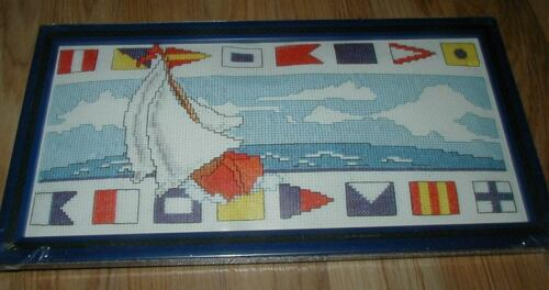"Design Works SAILBOAT NAUTICAL Counted CS Kit w Frame    6/"" x 12/"""