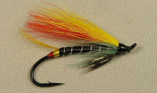 Black Doctor  (hairwing)   size #4 single  Salmon Hook