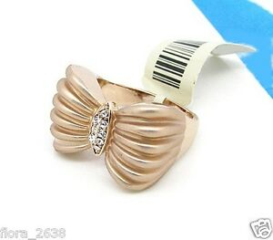 e989eee2ebd ... Bague-plaque-or-rose-zircons-transparents-noeud-papillon-
