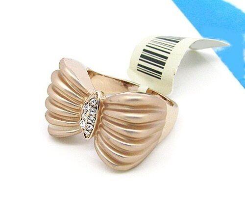 zircons transparents Bague plaqué or rose noeud papillon bijoux joaillerie