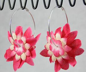 Fabric flower petals hot pink hoop earrings jumbo endless hoops image is loading fabric flower petals hot pink hoop earrings jumbo mightylinksfo