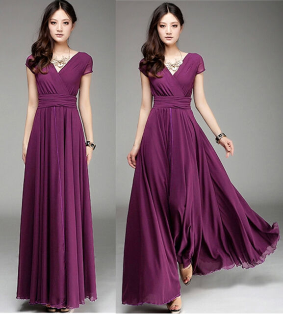New Women Lady Purple Long Maxi Formal evening Cocktail Party Plus Size Dress