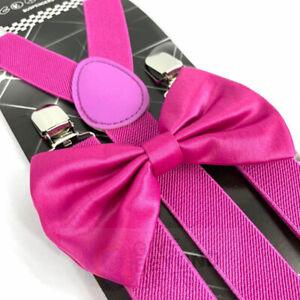Porte-jarretelles Et Noeud Papillon Adultes Hommes Rose Magenta Mariage Formel Wear Accessoires-afficher Le Titre D'origine