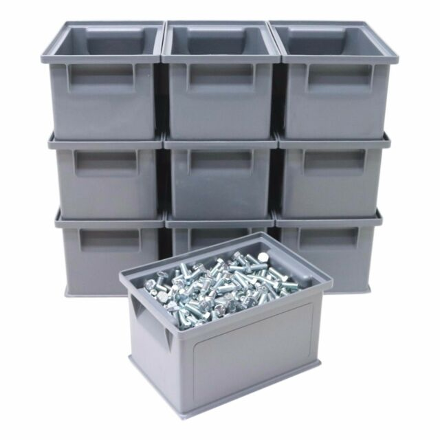 10 X HD Strong Stacking Plastic Parts Storage Bins Boxes Ideal Nuts