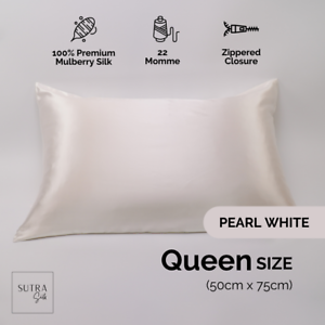 100% Mulberry Silk Pillowcase Both Side 22 Momme Pearl White Queen Size