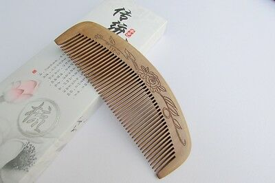 Natural Carved Old Peach Wooden Comb Fine Toothed Health Care Comb  T17-3