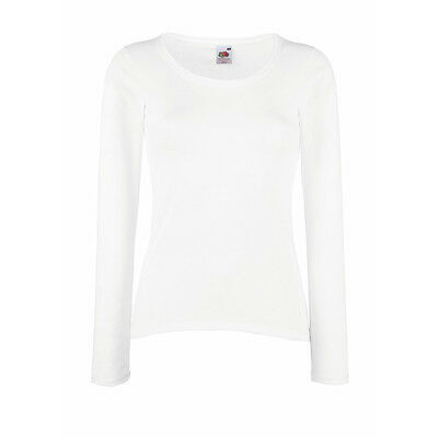 FRUIT OF THE LOOM LADY FIT VALUEWEIGHT MANICA LUNGA 100% COTONE DONNA T-SHIRT