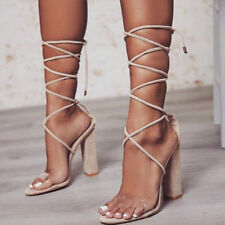 5d2922c0693 item 1 Women Lace Up High Block Heel Sandals Perspex Strap Ladies Open Toe  Party Shoes -Women Lace Up High Block Heel Sandals Perspex Strap Ladies  Open Toe ...