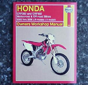 2002 2006 honda crf250 crf450 crf 250 450 haynes repair manual ebay rh ebay com 2005 Honda XR80 2005 Honda XR80