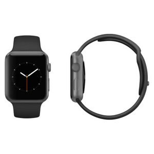 the best attitude c3362 53b73 Details about Apple Watch 38mm Space Grey Aluminum Case Black Sport Band