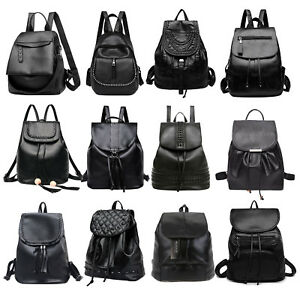 62f6029a42a5 Image is loading Women-Girls-Backpack-Casual-PU-Leather-Rucksack-Shoulder-