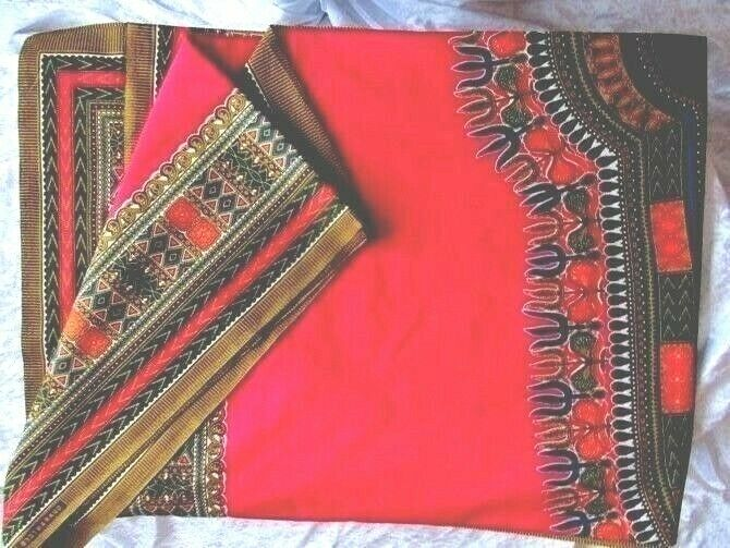 ISBNS- 1239 Dutch Java Prints Main Colours Deep Green and Red 6 yards .