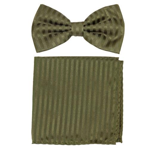 New formal men/'s pre tied Bow tie /& Pocket Square Hankie stripes Olive green